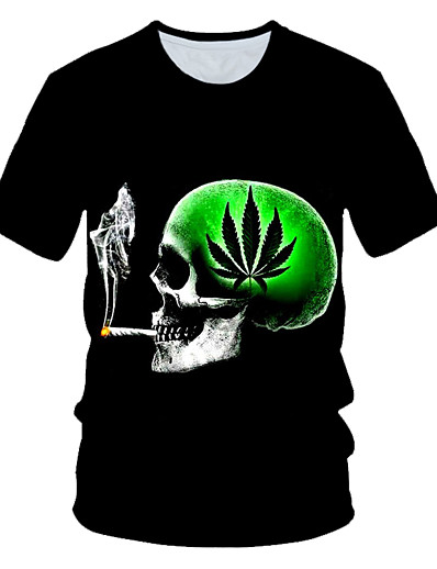 cheap Men's 3D-Men's T shirt Graphic 3D Skull Print Short Sleeve Daily Wear Tops Streetwear Exaggerated Black