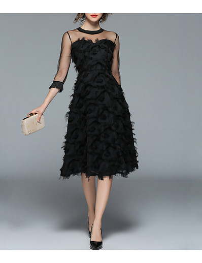 cheap DRESSES-Women's Sheer Party / Going out Vintage / Street chic A Line / Little Black Dress - Solid Colored Tassel Spring Black L XL XXL