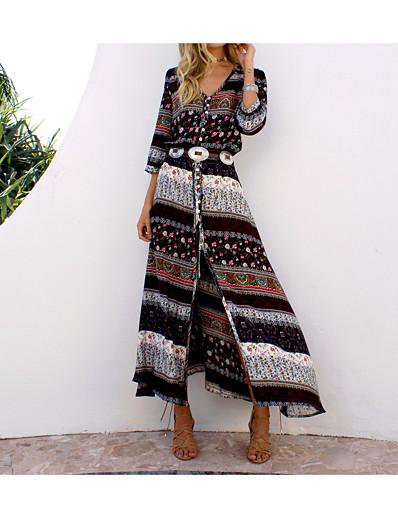 cheap Boho Dresses-Women's Boho Plus Size Holiday Beach Boho Maxi Tunic Sundress - Tribal Split Print V Neck Summer Cotton Blue Black XL XXL XXXL