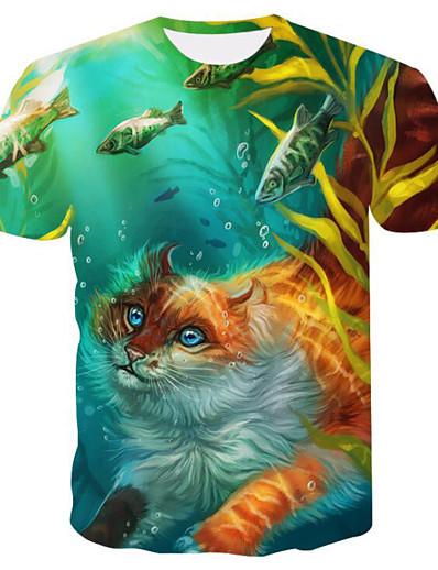 cheap TOPS-Women's Daily Basic T-shirt - 3D / Animal Cat, Print Green