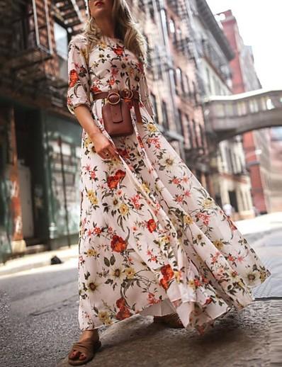 cheap Boho Dresses-Women's Swing Dress Maxi long Dress - 3/4 Length Sleeve Floral Flower Print Spring Summer Casual Hot Holiday vacation dresses Lantern Sleeve Ruffle White S M L XL XXL
