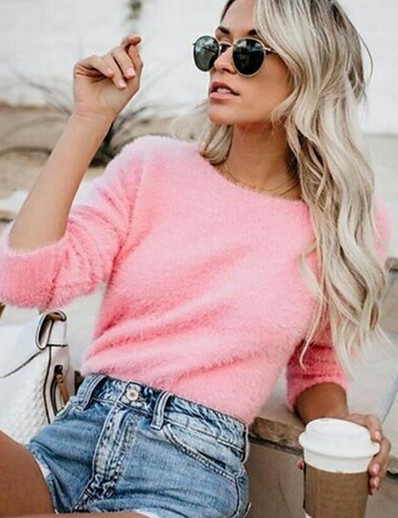 cheap Sweaters & Cardigans-Women's Solid Colored Long Sleeve Pullover Sweater Jumper, Round Neck Fall / Winter Yellow / Blushing Pink / Army Green S / M / L