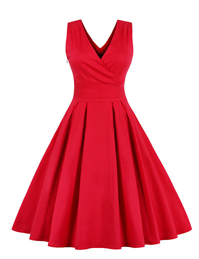 cheap Vintage Dresses-Women's Going out Vintage 1950s Slim Chiffon Dress - Solid Colored Bow Pleated V Neck Royal Blue Red S M L XL Belt Not Included