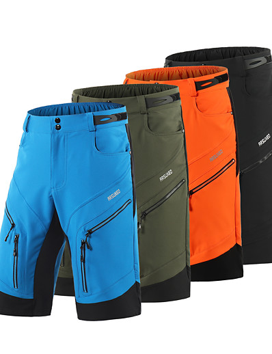 cheap Cycling-Arsuxeo Men's Cycling MTB Shorts Spandex Polyester Bike MTB Shorts Bottoms Breathable Quick Dry Moisture Wicking Sports Solid Color Black / Army Green / Blue Mountain Bike MTB Road Bike Cycling