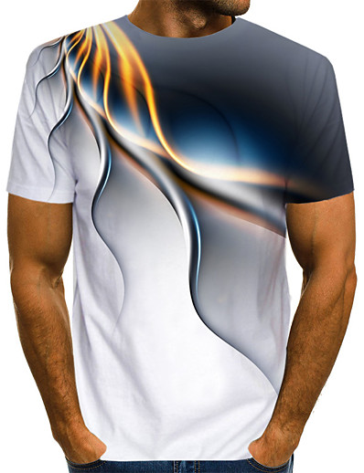 cheap SALE-Men's Daily Casual Street chic / Exaggerated EU / US Size T-shirt - Abstract Print Round Neck White / Short Sleeve / Summer
