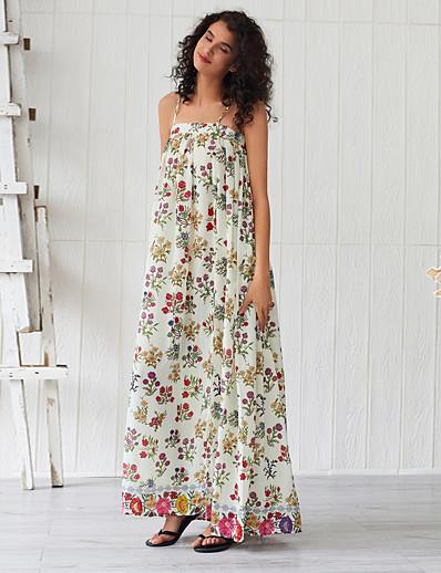 cheap Summer Dresses & Boho-Women's Basic Boho Sheath Swing Dress - Floral Ruched Split Print Beige L XL XXL
