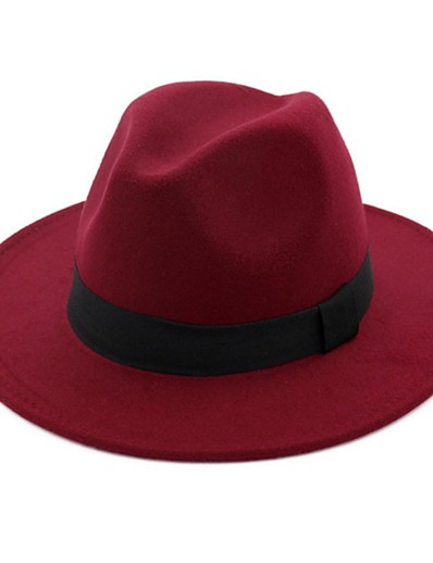 cheap Men's Accessories-Men's Basic 1930s Cotton Wool Blends Bucket Hat Fedora Hat Sun Hat-Solid Colored Summer Fall Black Fuchsia Red