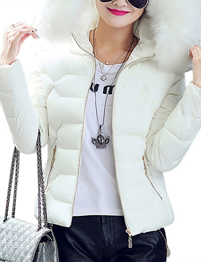 cheap Down& Parkas-Women's Puffer Jacket Solid Colored Polyester White / Black / Blushing Pink M / L / XL