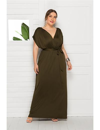 cheap Plus Size Dresses-Women's Maxi Wine Purple Dress Elegant Swing Solid Colored V Neck M L