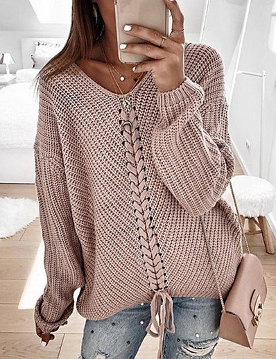 cheap Sweaters & Cardigans-Women's Casual Knitted Solid Colored Long Sleeve Pullover Sweater Jumper, V Neck Spring / Fall Blushing Pink / Red / Navy Blue S / M / L