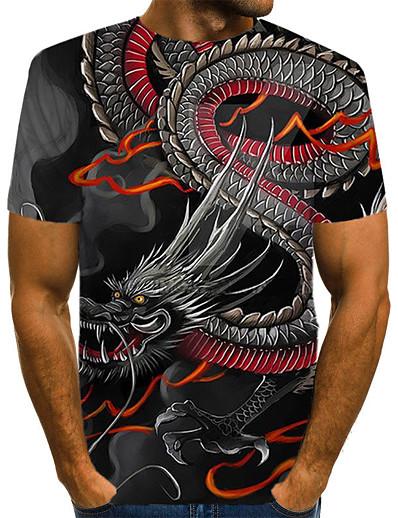 cheap Men's 3D-Men's T shirt Tribal 3D Animal Print Short Sleeve Casual Tops Streetwear Exaggerated Round Neck Black / Summer