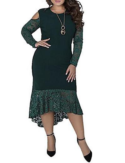 cheap Plus Size Dresses-Women's Plus Size Asymmetrical Sheath Dress - Long Sleeve Solid Colored Lace Patchwork Elegant Sophisticated Slim Wine Blue Green XL XXL XXXL XXXXL XXXXXL XXXXXXL