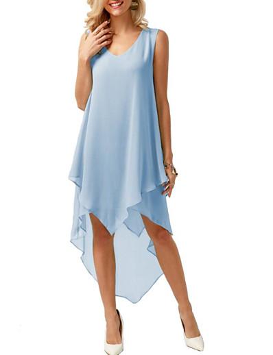 cheap High Low Dresses-Women's Asymmetrical Blushing Pink Blue Dress Spring A Line Deep V Ruffle Fashion S M