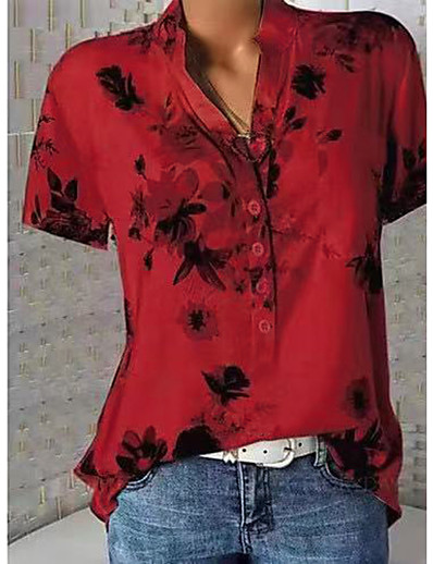 cheap TOPS-Women's Shirt - Floral Floral / Fashion / Print V Neck White / Spring / Summer / Fall