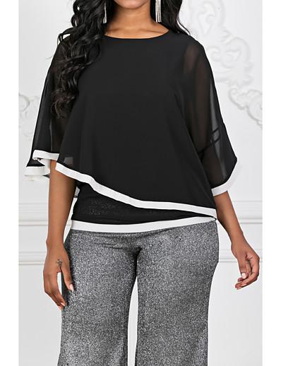 cheap TOPS-Women's Basic Blouse - Color Block Patchwork Black