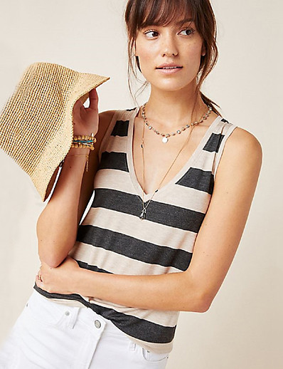 cheap TOPS-Women's Daily Wear Street Basic Cotton Loose Tank Top - Striped Patchwork V Neck Khaki