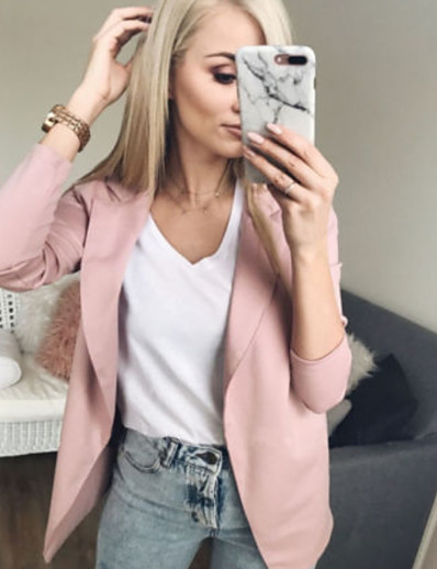 cheap Jackets & Blazers-Women's Work Street chic Spring &  Fall Regular Jacket, Solid Colored Stand Long Sleeve Cotton Patchwork Black / Blushing Pink