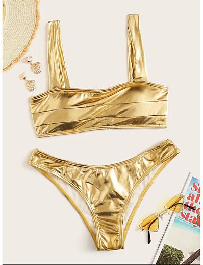 cheap Bikini Sets-Women's Basic Boho Gold Bandeau Cheeky Bikini Swimwear - Solid Colored Racerback S M L Gold