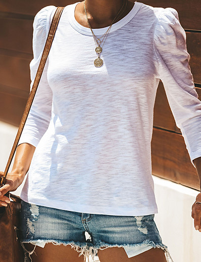 cheap TOPS-Women's Casual Daily Wear Basic Cotton Loose T-shirt - Solid Colored Patchwork White