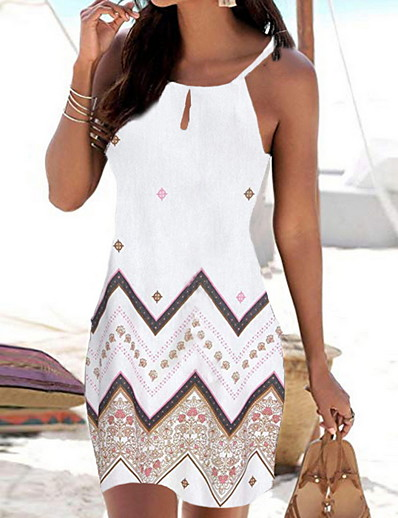 cheap Vacation Dresses-Women's Strap Dress Short Mini Dress - Sleeveless Geometric Print Summer Boho Holiday Vacation Beach 2020 White Black Red Blue S M L XL