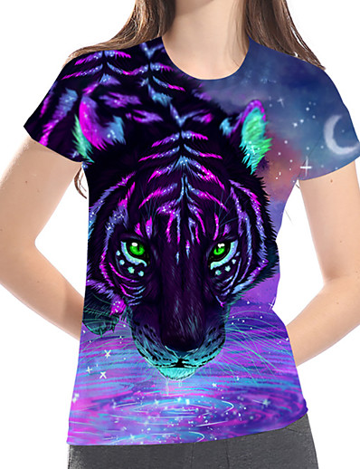 cheap TOPS-Women's Street Casual / Daily Basic / Exaggerated Plus Size Loose T-shirt - 3D / Graphic / Animal Print Purple
