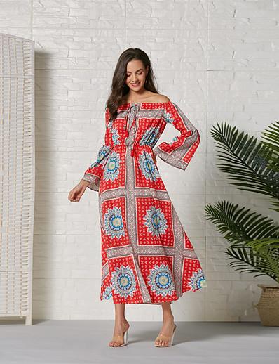 cheap Summer Dresses & Boho-Women's Basic Sheath Swing Dress - Geometric Color Block Red, Ruched Split Patchwork Red S M L XL