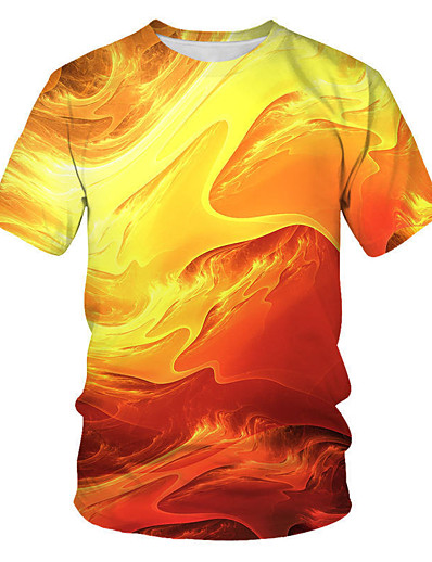 cheap Men's 3D-Men's T shirt Shirt Geometric 3D Plus Size Print Short Sleeve Daily Tops Streetwear Punk & Gothic Round Neck Orange