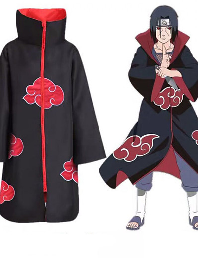 cheap Anime Cosplay-Inspired by Naruto Akatsuki Anime Cosplay Costumes Japanese Anime Cosplay Suits Cloak Long Sleeve For Men's