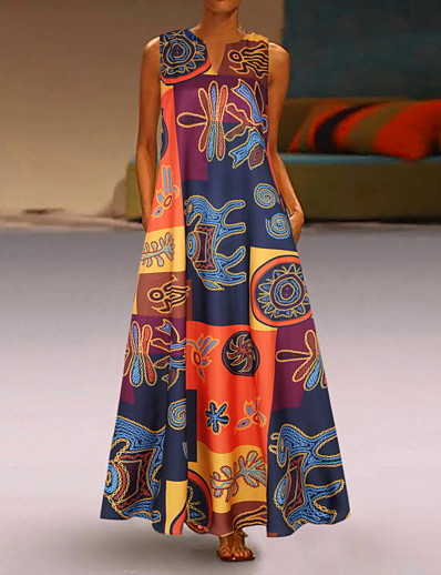 cheap Plus Size Dresses-Women's Sheath Dress Maxi long Dress - Sleeveless Print Patchwork Print Fall V Neck Plus Size Vintage Loose 2020 Red Orange S M L XL XXL 3XL 4XL 5XL
