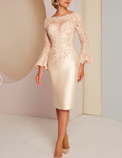 cheap WEDDING-Sheath / Column Jewel Neck Knee Length Lace / Satin Long Sleeve Elegant / Vintage / Plus Size Mother of the Bride Dress with Lace 2020
