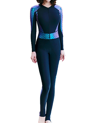 cheap SPORTSWEAR-Women's Rash Guard Dive Skin Suit Diving Suit Quick Dry Stretchy Long Sleeve Front Zip Patchwork Summer