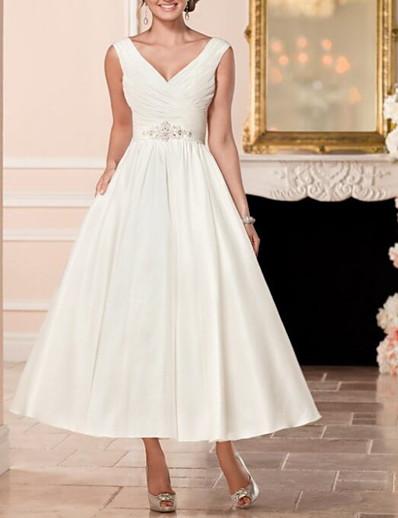 cheap Wedding Dresses-A-Line V Neck Ankle Length Satin Cap Sleeve Vintage Little White Dress / 1950s Wedding Dresses with Beading 2020