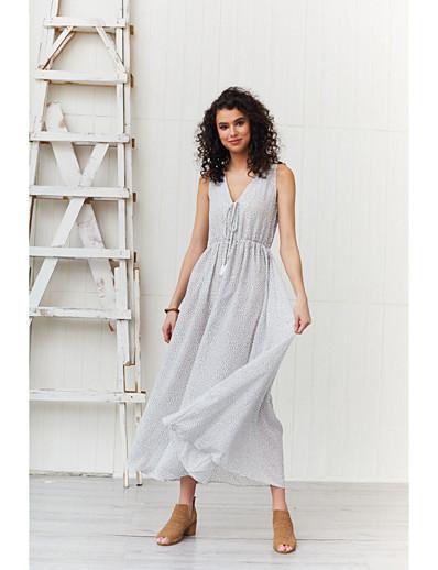 cheap Summer Dresses & Boho-Women's Basic Sheath Swing Dress - Polka Dot Ruched Lace up White L XL XXL