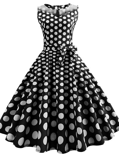 cheap Vintage Dresses-Women's Yellow Red Dress Vintage Street chic Chiffon Polka Dot Print S M Slim