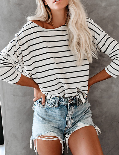 cheap TOPS-Women's School Vacation Basic / Elegant Cotton Loose T-shirt - Striped Black & White, Patchwork White