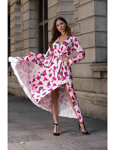 cheap Summer Dresses & Boho-Women's Basic Sheath Swing Dress - Floral Ruched Split Print Blue Blushing Pink Yellow M L XL