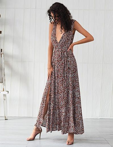 cheap Summer Dresses & Boho-Women's Basic Sheath Swing Dress - Floral Split Lace up Print Light Brown L XL XXL