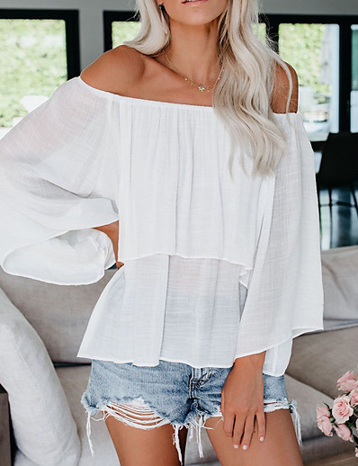cheap TOPS-Women's Date Weekend Street chic Loose Blouse - Solid Colored Bow Off Shoulder White