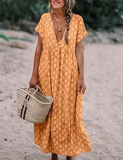 cheap Mother Dresses-Women's Maxi Abaya Dress - Short Sleeve Geometric Floral Fashion Print Spring Summer V Neck Boho Yellow Blushing Pink Orange Khaki Light Blue S M L XL XXL XXXL