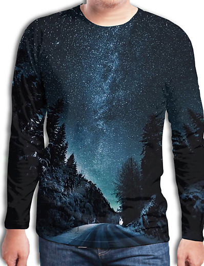 cheap Men's 3D-Men's T shirt Galaxy Graphic 3D Plus Size Print Long Sleeve Daily Tops Streetwear Exaggerated Blue