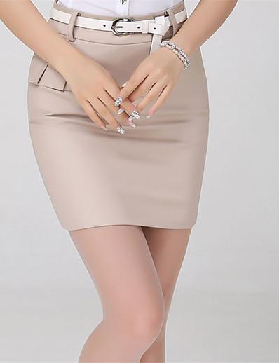 abordables Pantalons et Jupes Femme-Femme basique Moulante Jupes Couleur Pleine Patchwork Noir Bleu Beige