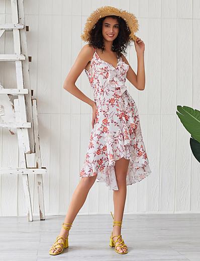 cheap Summer Dresses & Boho-Women's Basic Boho Sheath Dress - Floral Ruffle Print White L XL XXL