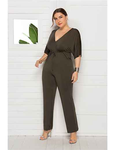 cheap Plus Size Dresses-Women's Wine Army Green Red Jumpsuit Onesie, Solid Colored L XL XXL