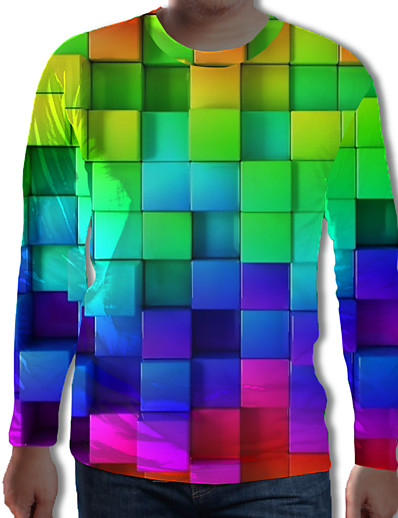 cheap Men's 3D-Men's Tunic Graphic Geometric 3D Plus Size Pleated Print Long Sleeve Daily Tops Streetwear Exaggerated Rainbow