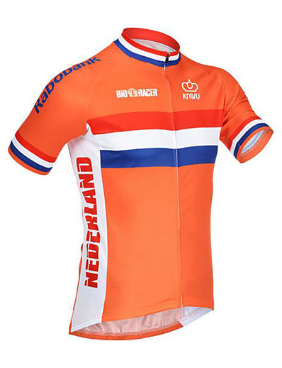 cheap SPORTSWEAR-21Grams Netherlands National Flag Men's Short Sleeve Cycling Jersey - Orange Bike Jersey Top Breathable Moisture Wicking Quick Dry Sports Terylene Mountain Bike MTB Road Bike Cycling Clothing Apparel