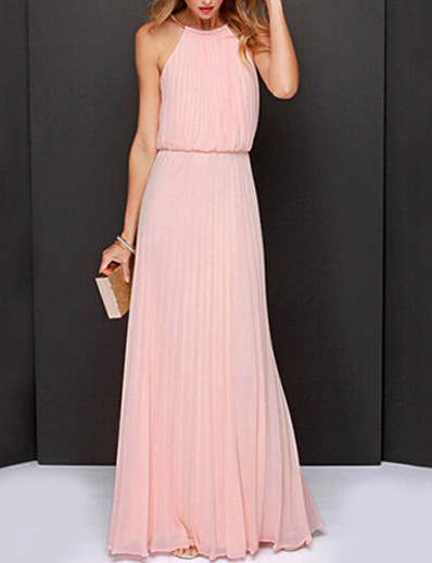 cheap Party Dresses-Women's Maxi Light Green Pink Dress Sophisticated Summer Cocktail Party Prom Swing Solid Colored Halter Neck Dusty Rose Pleated S M Loose / Belt Not Included