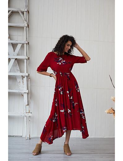 cheap Summer Dresses & Boho-Women's Basic Boho Sheath Swing Dress - Floral Ruched Print Red L XL XXL