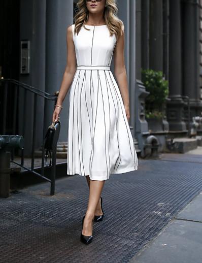 cheap DOWN TO $0.99-Women's Elegant A Line Dress - Striped White M L XL XXL