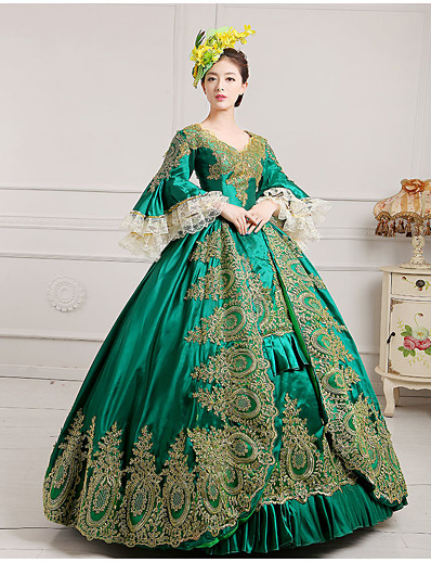 cheap Historical & Vintage Costumes-Maria Antonietta Rococo 18th Century Vacation Dress Christmas flare Dress Ball Gown Prom Dress Women's Satin Costume Black / Burgundy / Green Vintage Cosplay Party Prom Floor Length