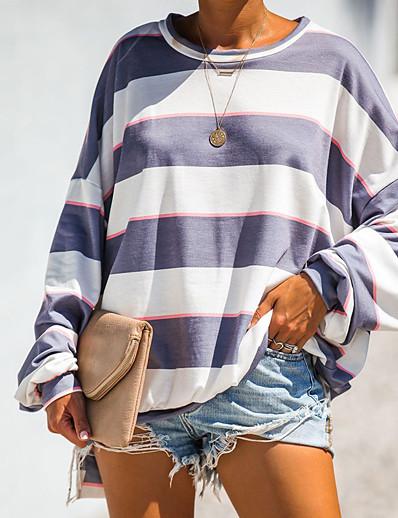 cheap OUTERWEAR-Women's Basic / Street chic Sweatshirt - Color Block Navy Blue M